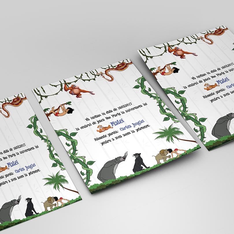 Invitatie aniversara originala cu tema Cartea Junglei