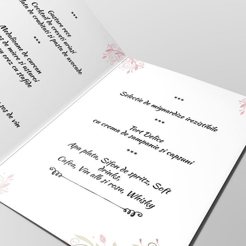 Meniuri pentru nunta cu tema florala disponibile si in set pentru nunta