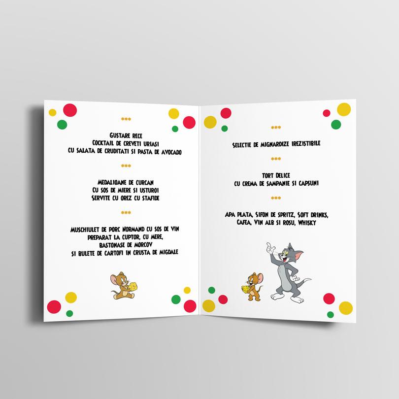 Cele mai frumoase meniuri de botez cu Tom si Jerry