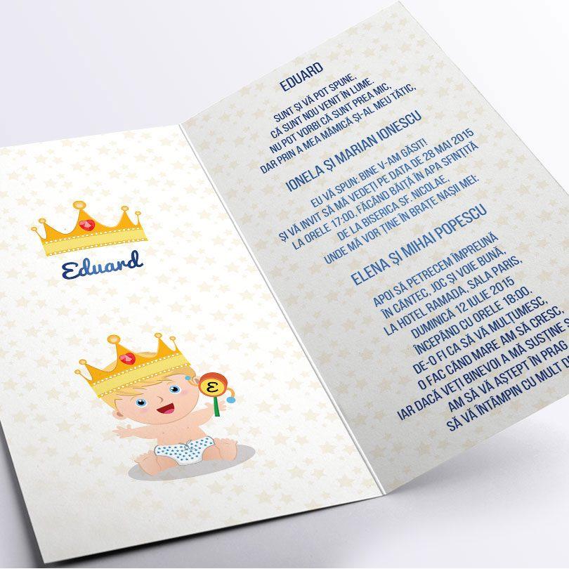 Invitatie de botez originala cu Micul Print