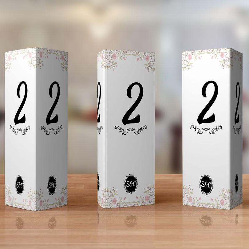 Numere de masa cu tema florala pentru nunta