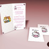 Invitatie de botez original, personalizabila, cu Hello Kitty