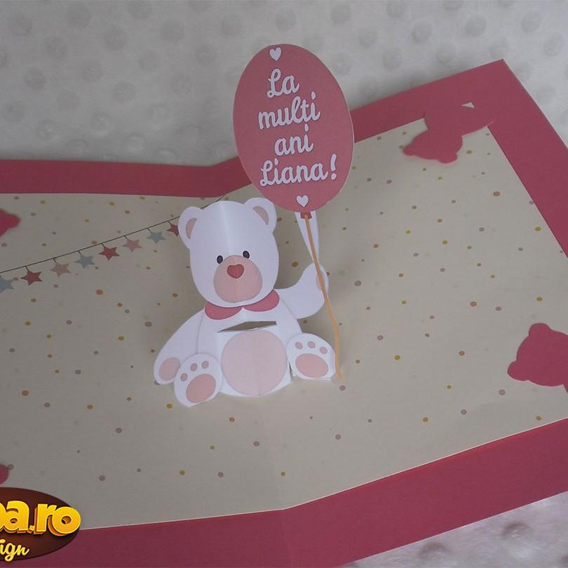 felicitare pentru aniversari cu ursulet tridimensional