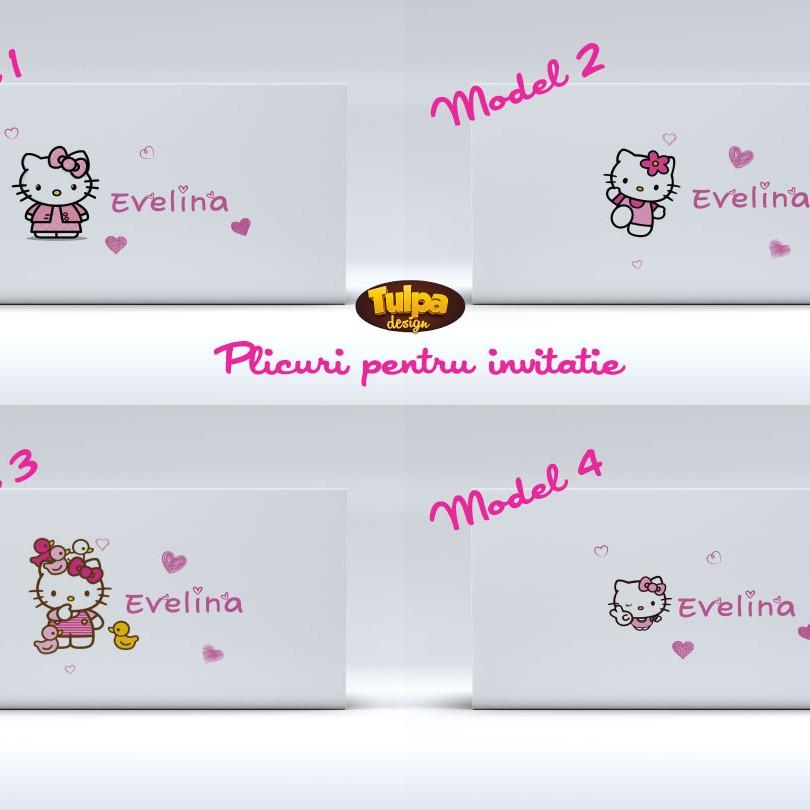 Plicuri pentru invitatii de botez cu Hello Kitty