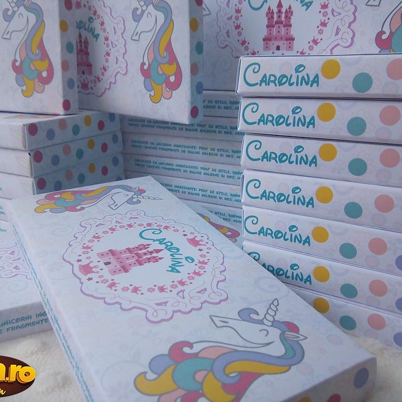 invitatie de botez ciocolata cu tema unicorni, perfecta pentru fetite