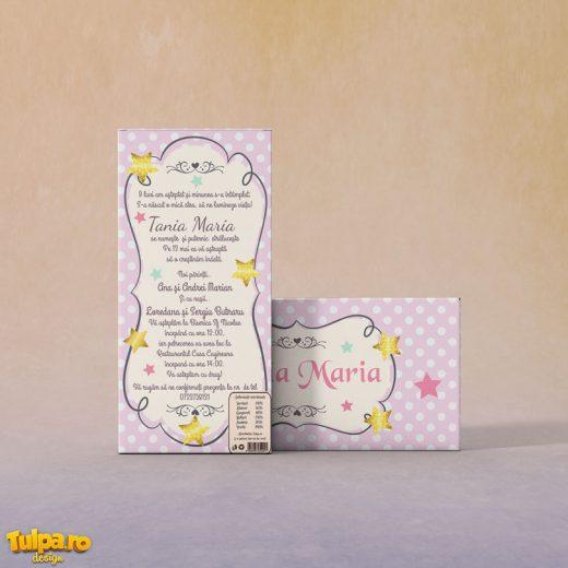 Invitatie pentru botez ciocolata Twinkle Stars 3