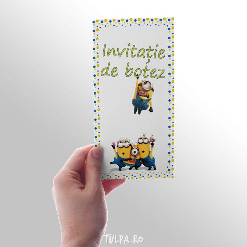 Invitatie de botez hazlie, cu personajele din Minioni