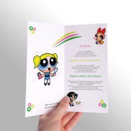 Invitatii de botez superbe cu celebrele personaje de desene animate Power Puff Girls