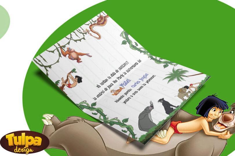 Invitatie pentru petreceri aniversare cu tema Cartea Junglei
