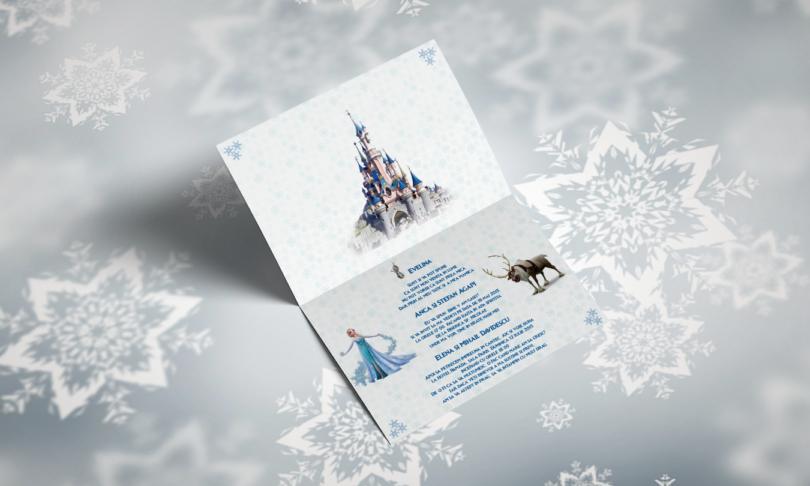 Invitatie de botez cu Elsa, Frozen - Tinutul de Gheata