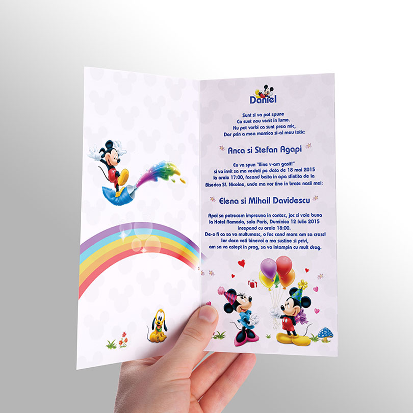 Invitatie de botez cu Mickey Mouse