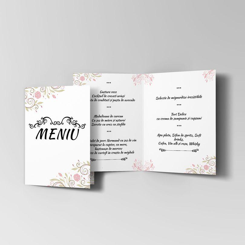 Meniu pentru nunta cu tema florala disponibile si in set pentru nunta