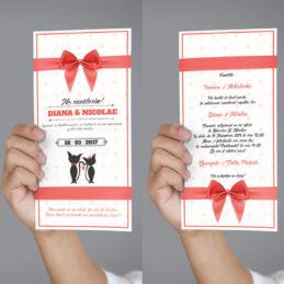 Invitații de nuntă cu Pisici