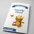Invitatie de botez originala cu Micul Print cu coperta Teddy Bear