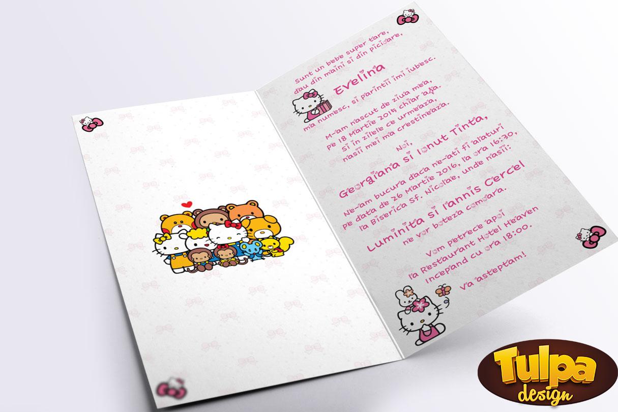 Invitatie de botez original, personalizabila, cu Hello Kitty