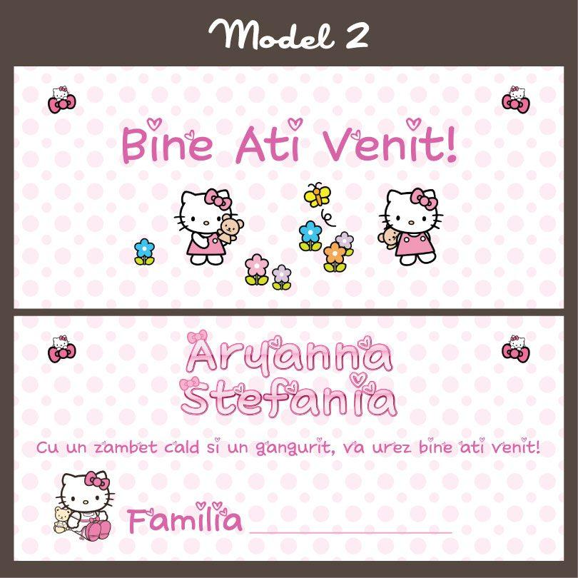 Plicuri cu Hello Kitty pentru darul de botez, 2 variante la alegere