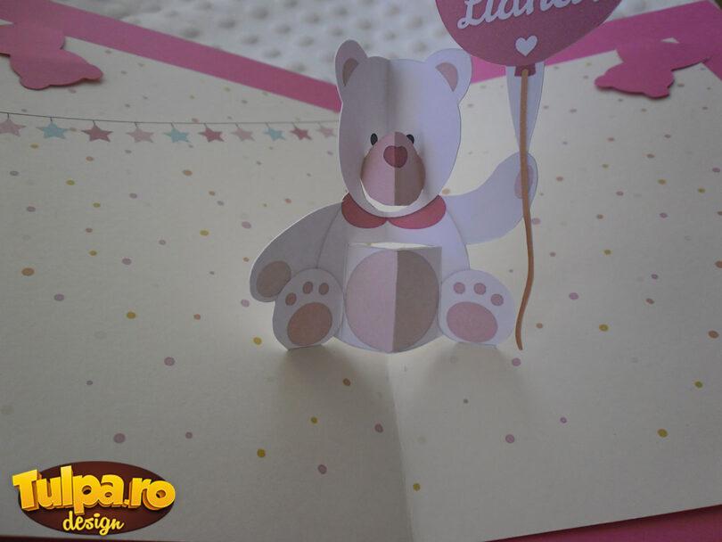felicitare pentru aniversari cu ursulet 3d