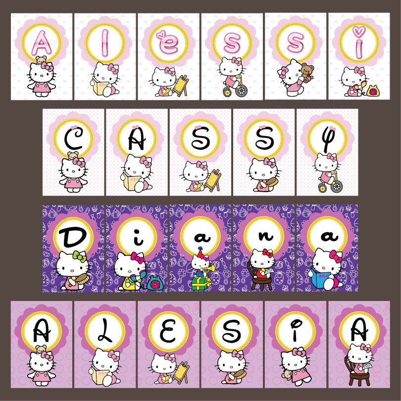 ghirlande cu Hello Kitty pentru botez, disponibile in 4 variante de culori