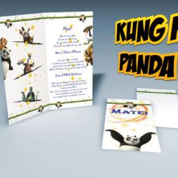 Invitatie de botez moderna cu tema Kung Fu Panda