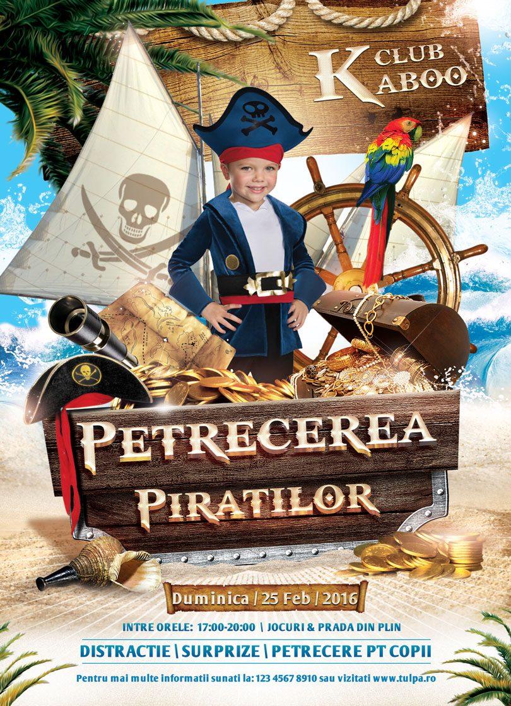 Invitatie aniversara gen poster cu tema piratilor