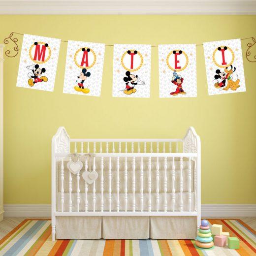 Banner pentru botez cu Mickey Mouse