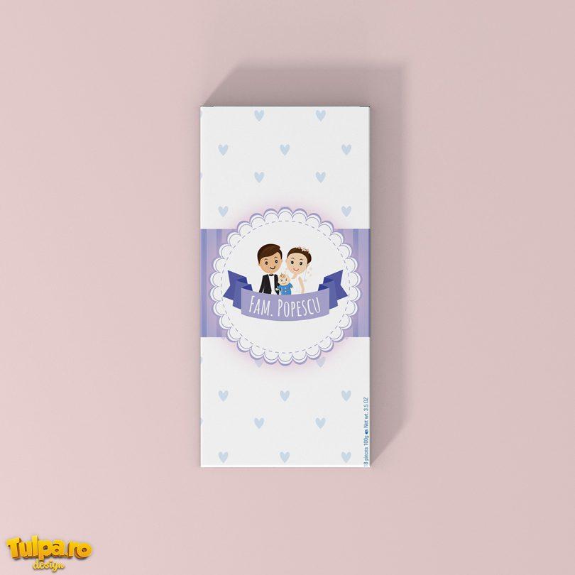 Invitatie Ciocolata personalizabila cu poza pentru nunta si botez