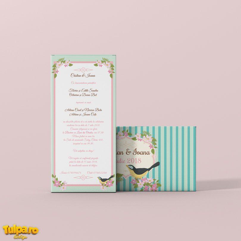 Invitaţie de nuntă vintage cu motive florale sau mărturie delicioasă.