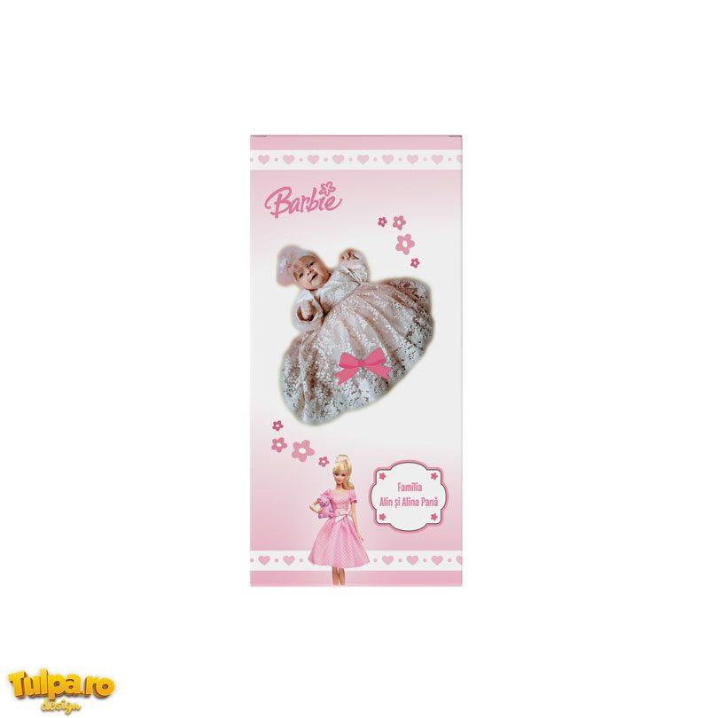 Invitaţie botez cu Barbie tip ciocolată, disponibilă la comandă, cu personalizare gratuită!