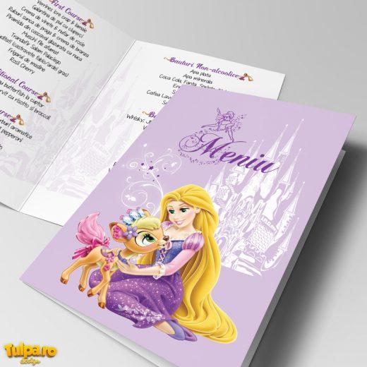 Meniuri personalizate pentru botez cu Rapunzel, disponibile la comanda