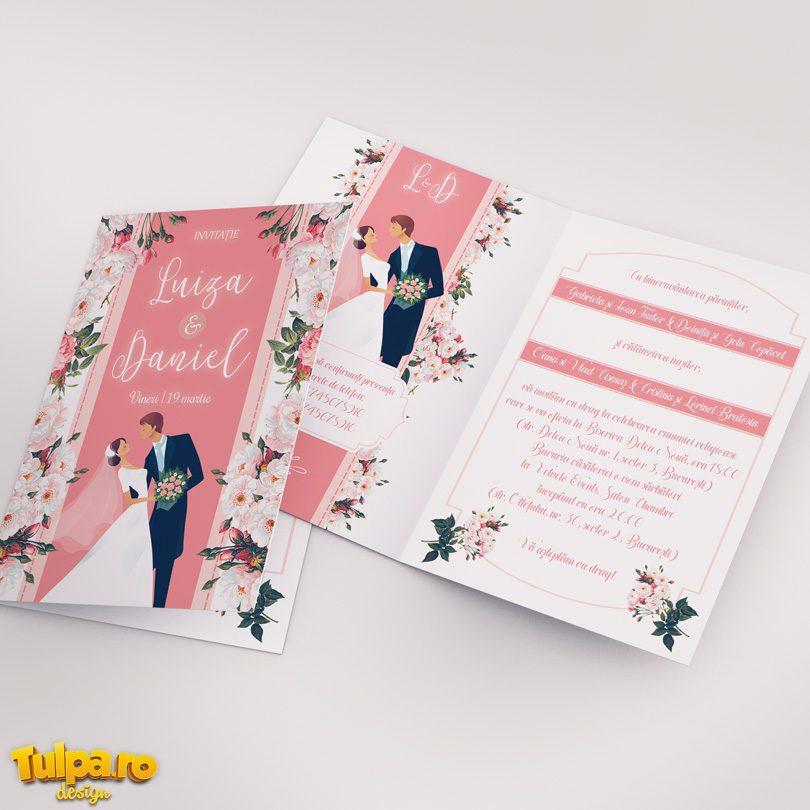 Invitaţie de nuntă cu Miri şi Flori