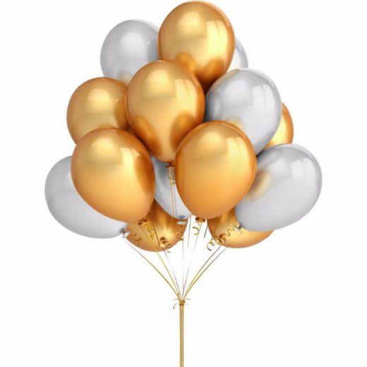 baloane metalizate aurii si albe, disponibile in set de 30 de bucati