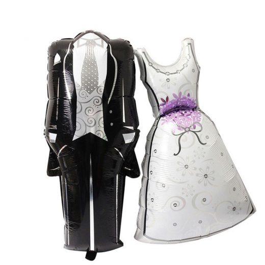 Baloane Miri, în formă de rochie de mireasă şi costum de mire