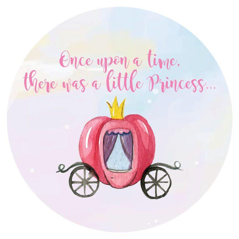 etichetă personalizată pentru Invitaţie cu prinţesă şi unicorn.