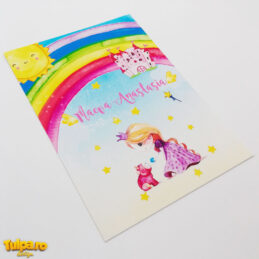 Invitaţie cu prinţesă şi unicorn. O invitație de botez de lux cu elemente watercolor, realizată din carton texturat, cu efect vizual şi deosebită la atingere.