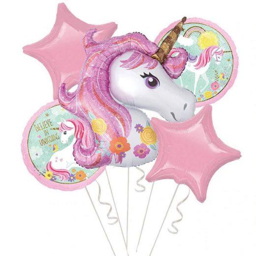 Set de baloane cu unicorni, format din 5 piese
