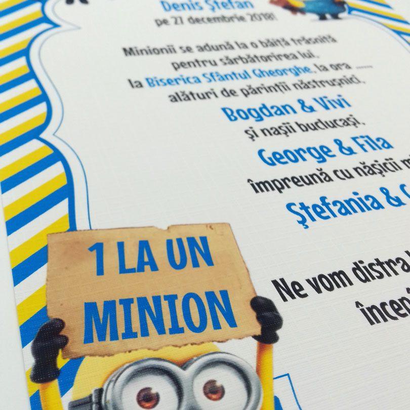 Invitaţie cu Minioni tip Poster