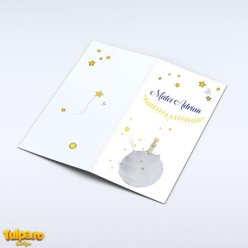 Invitaţie cu Micul Prinţ, un personaj foarte cunoscut şi o alegere elegantă pentru petrecerea de botez deosebită a prinţului tău!