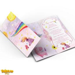 Invitaţie Prinţesa şi Unicorn, deschidere clasică