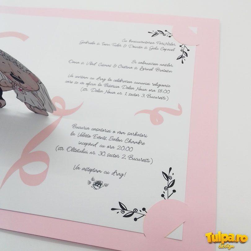 Invitaţie de nuntă cu ursuleţi 3D Pop-Up