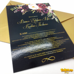 Invitatie de nunta cu Bujori Burgundi