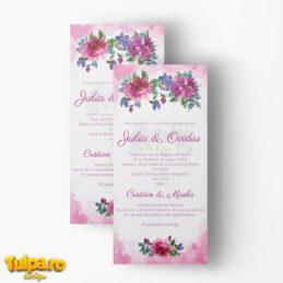 Invitaţie de nuntă Watercolor Rose Floral