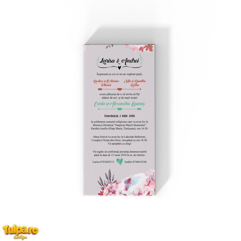 Invitaţie de nuntă florală tip ciocolată - Love is Sweet