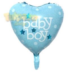 Baloane It's A Boy, formă inimă, culoare bleu