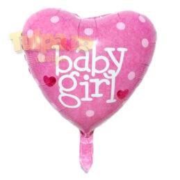 Baloane It's A Girl, formă de inimă, culoare roz