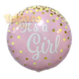 Baloane It's A Girl, formă rotundă, culoare roz.