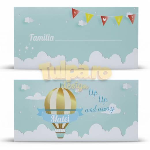 Plic cu tema călătorie, cu balon de aer si norişori