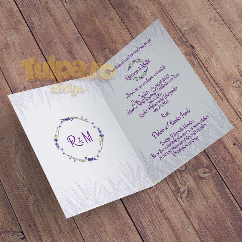 Invitatie de nunta cu tema lavanda