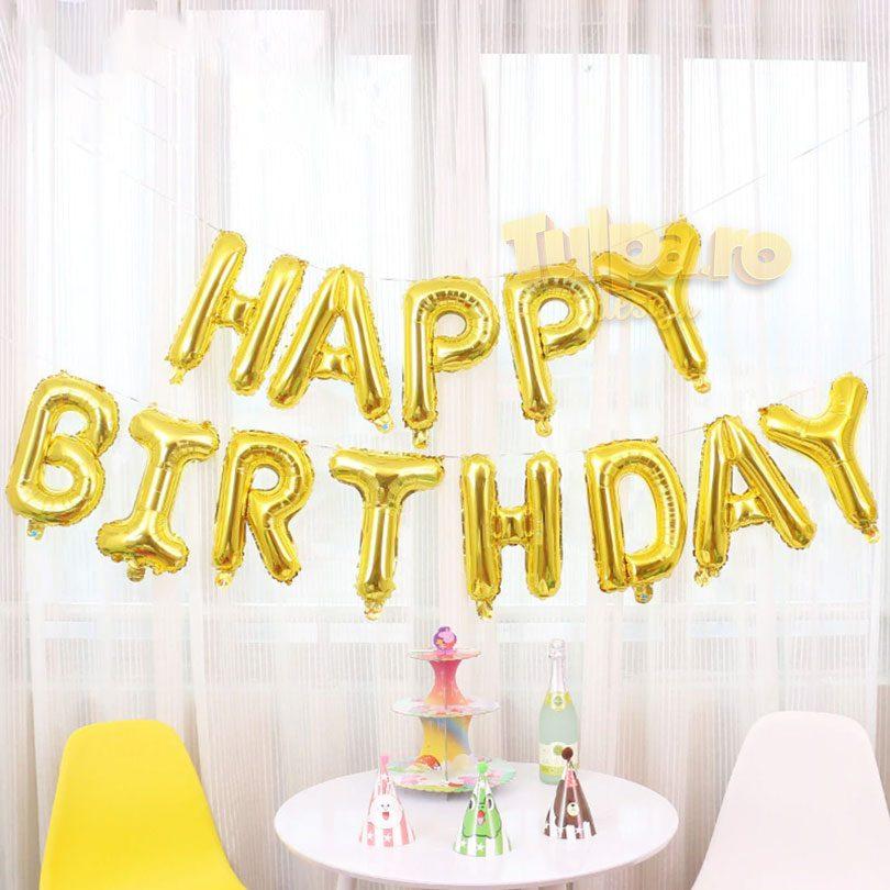 Baloane aniversare Happy Birthday, culoare aurie