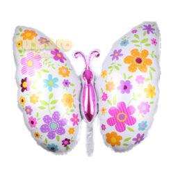 Balon fluture multicolor, din folie de aluminiu