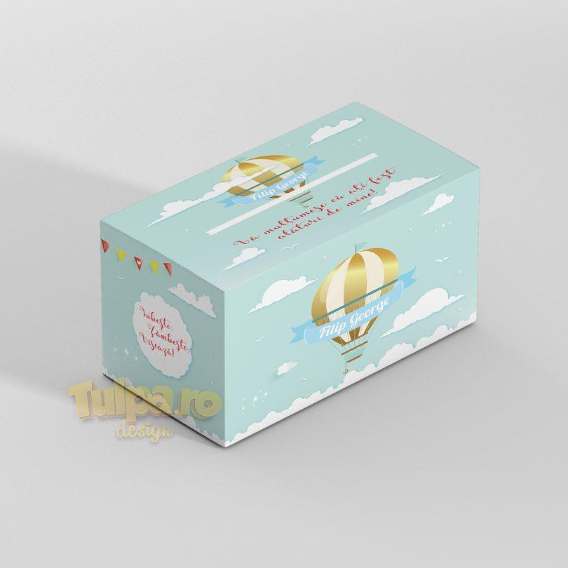 Cutie cu tema Călătorie, pentru plicuri, cu balon auriu şi norişori